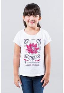 Camiseta Infantil Flor De Lotus Reserva Mini Feminina - Feminino-Branco