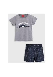 Pijama Tricae Curto Infantil Dragão Cinza/Azul-Marinho