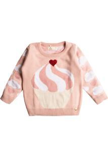 Casaco Suéter Tricô Mini Lady Cupcake Rosa - Tricae