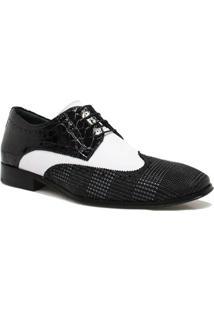Sapato Zariff Shoes Social Couro Verniz - Masculino-Preto+Branco