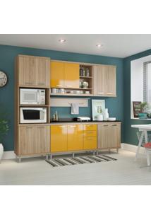 Cozinha Completa Com Tampo 12 Portas 7 Peças Sicília Multimóveis Argila/Amarelo