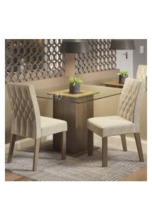 Conjunto Sala De Jantar Madesa Tati Mesa Tampo De Vidro Com 2 Cadeiras Rustic/Imperial