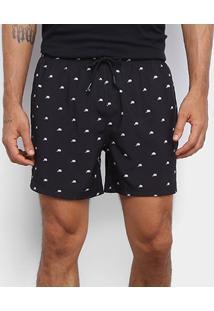 Short New Era Caps Allover Masculino - Masculino-Preto+Branco