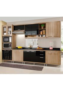 Cozinha Completa Com Tampo 15 Portas 5835 Argila/Preto - Multimóveis