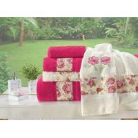 43fb0869f2 Jogo De Banho Floral Bordado Passione 05 Peças - Pink E Palha