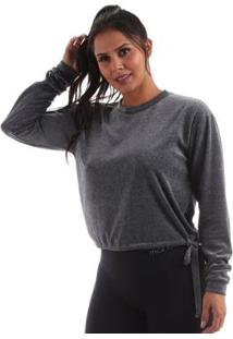 Blusão Plush Manly Feminina - Feminino-Mescla Escuro