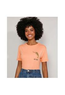 "Camiseta Feminina Manga Curta Onça Wild Heart"" Decote Redondo Laranja"""