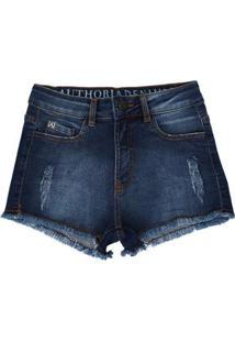 Short Infantil Jeans Authoria Com Bordado Feminina - Feminino-Azul