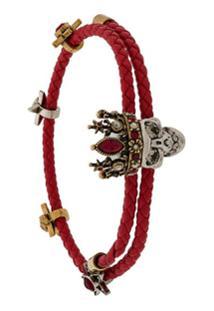 Alexander Mcqueen Bracelete De Couro Com Caveira - Vermelho