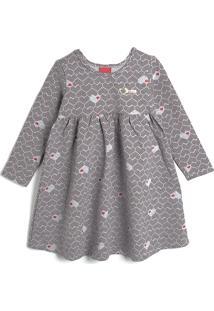 Vestido Kyly Infantil Coração Cinza/Vermelho
