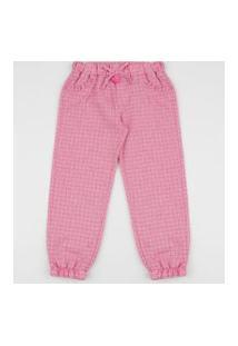 Calça De Moletom Infantil Jogger Estampado Quadriculado Com Bolsos Rosa