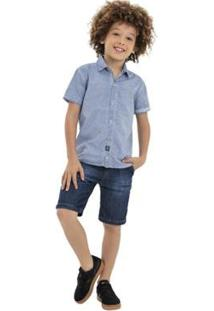 Camisa Infantil Quimby Tecido Mozart Masculina - Masculino-Azul