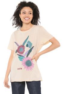 Camiseta Cantão Flores Bege
