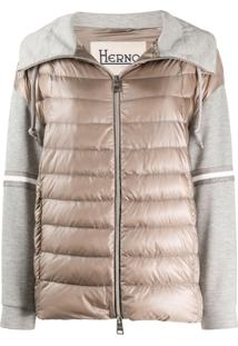 Herno Jersey-Panel Quilted Jacket - Neutro