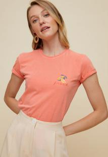 Amaro Feminino T-Shirt Malha Estampa Fresh, Rosa