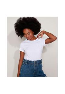 Camiseta Feminina Básica Com Bordado Manga Curta Decote Redondo Branca
