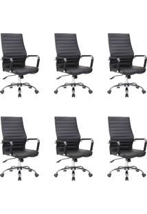 Conjunto Com 6 Cadeiras De Escritório Diretor Giratórias Cleaner Preto