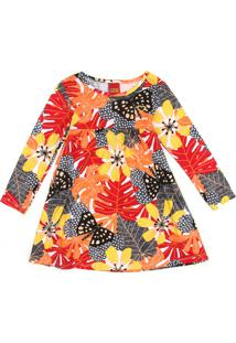 Vestido Kyly Infantil Folhagem Laranja