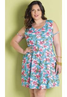 Vestido Floral Manga Tule Plus Size Marguerite