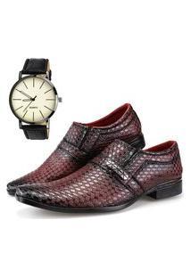 Sapato Social Neway Vermelho Escuro + Relógio