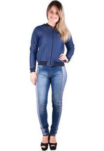 Jaqueta Bomber Matelada Jeans - Banna Hanna - Feminino-Jeans