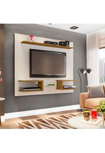 Painel Para Tv Até 55 Polegadas Atlas Off-White E Cinamomo