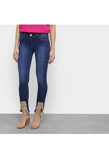 Calça Jeans Skinny Coffee Destroyed Feminina - Feminino-Jeans