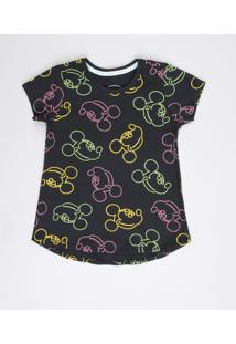 Blusa Infantil Mickey Estampada Manga Curta Preta