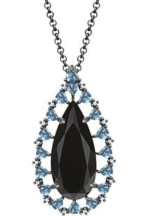 Colar Em Prata Com Quartzo Negro, Safira Incolor, Topázio Azul