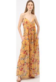 Vestido Longo Floral Moana - Amarelo - P