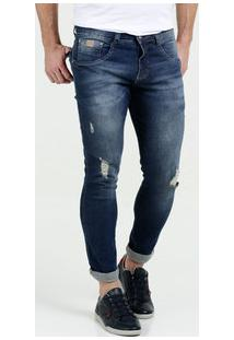 Calça Masculina Jeans Puídos Skinny Cut Biotipo