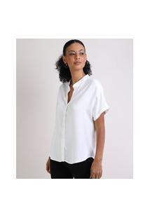 Camisa Feminina Manga Curta Decote Em V Off White