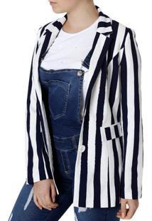 Blazer Feminino Branco/Azul Marinho