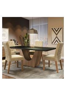 Conjunto Sala De Jantar Madesa Hadassa Mesa Tampo De Vidro Com 4 Cadeiras Marrom