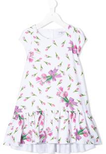 Monnalisa Vestido Com Estampa Floral E Amarração - Branco