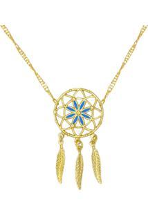 Gargantilha Prata Mil Apanhador De Sonhos Resina Azul Dourado