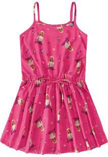 Vestido Evasê Barbie® Menina Malwee Kids