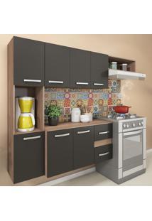 Cozinha Compacta 9 Portas 2 Gavetas Suspensa Armário E Balcão Anita Teka/Grafite - Pnr Móveis
