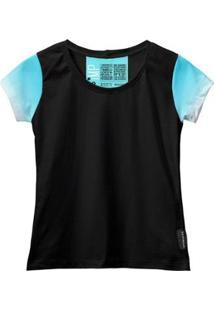 Camiseta Baby Look Feminina Algodão Estampa Estilo Leve Moda - Feminino-Azul Claro+Preto