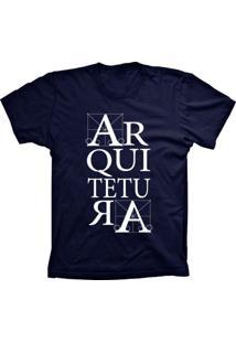 Camiseta Baby Look Lu Geek Arquitetura Azul Marinho
