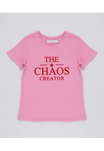 Blusa Infantil Chaos Creator Manga Curta Rosa Claro