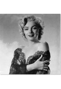 Quadro Marilyn Vestido De Renda Uniart Preto & Branco 45X45Cm