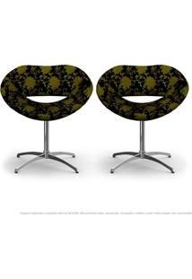 Kit 2 Cadeiras Beijo Floral Amarelo E Preto Poltrona Decorativa Com Base Giratória