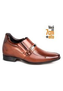 Sapato Social Couro Rafarillo Masculino Tressê Bridão Salto Tabaco