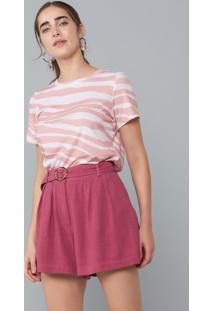 T-Shirt Amaro Ampla Estampada Zebra Stripes Pink - Rosa - Feminino - Dafiti