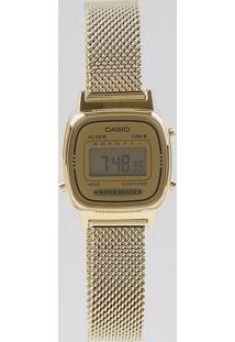 Relógio Digital Casio Feminino - La670Wemy9Df Dourado
