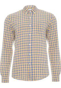 Camisa Masculina Linho Xadrez - Amarelo