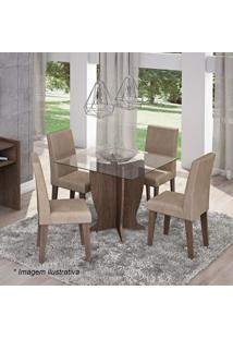 Conjunto De Mesa & Cadeiras Luana Para 4 Lugares- Marroccimol