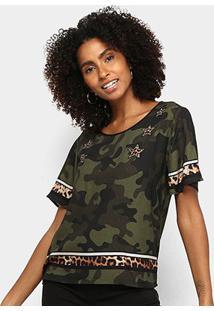 Camiseta Triton Camuflada Manga Curta Feminina - Feminino