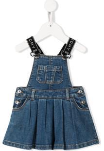 Givenchy Kids Vestido Jeans Com Logo - Azul